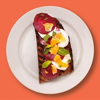 Goat's cheese, beetroot and orange on toast