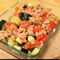 Greek Tuna, Cucumber and Tomato Salad