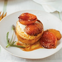Grilled Apricot Puffs with Honey Crème Fraîche
