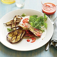 Grilled Eggplant with Roasted Red Pepper Sauce