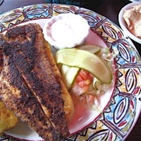 Grilled Fish Sandwich with a Creole Corn And Jalapeno Tarta