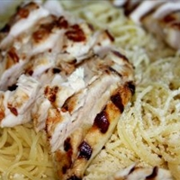 Grilled Lemon Lime Chicken over Angel Hair