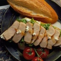 Grilled Pork and Goat Cheese Crostini