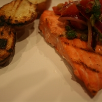 Grilled Salmon with Yukon Golds and Tomato-Red Onion Relish