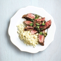 Grilled Steak with Spicy Cilantro Sauce (Chtl 30)