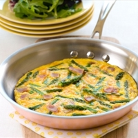 Ham and Asparagus Frittata with Spring Greens