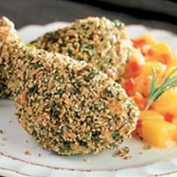 Herb and Pumpkin Seed Coated Chicken Drumbsticks with Chunky Mango Sauce