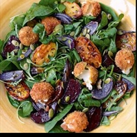 Hot-Crumbed Baby Mozzarella, Beetroot and Potato Salad