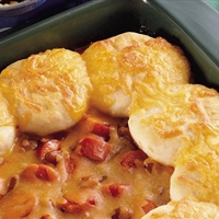 Hot Dogs 'n Beans Biscuit Casserole