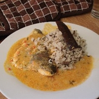 Imis Baked Trout With Spicy Almond Coconut Sauce