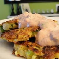 Jicama-Potato Skillet Cakes with Sour Cream Salsa