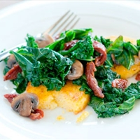 Kale, Mushroom, and Tomato Saute with Polenta