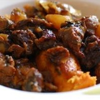 Lamb tagine with almonds, prunes and apricots