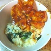 Mashed Parsnips with Steamed Spinach