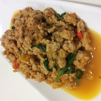 Minced Pork Fried with Basil