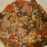 Minestrone Soup with Chicken Meatballs