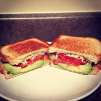 Mozzarella, tomato, pesto, avocado sandwich