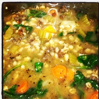 Mushroom Barley Soup with Sausage and Spinach
