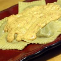 Mushroom Mascarpone Ravioli with Sundried Tomato Alfredo Sauce
