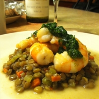 Pan Fried Shrimp with Lentils and Green Sauce