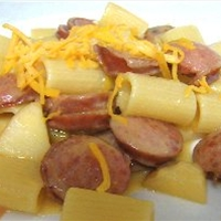 Pasta with Sausage, Apples and Creamy Cheddar Sauce