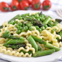 Pasta with Sugar Snap Peas, Asparagus and Parmesan