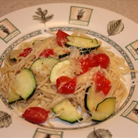 Pasta with Zucchini, Roasted Tomatoes & Garlic