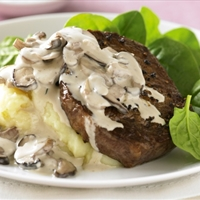 Peppered steak with creamy mushroom sauce (This one is a winner!)