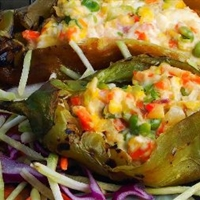 Peppers with Two Cheeses and Vegetable Confetti