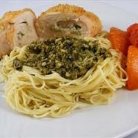 Pesto & Ricotta Stuffed Chicken Breast over Pasta