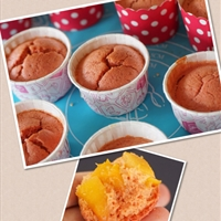 Pink japanese souffle cheese cupcakes (beet and mango)