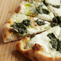 Pizza with Pesto, Ricotta, and Mozzarella