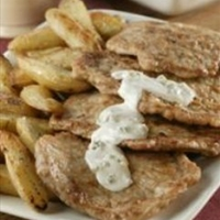 Pork Cutlets with Creamy Blue Cheese Dressing and Fingerling Potatoes