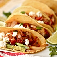 Pork Tinga with Potatoes, Avocado (fresh cheese optional)