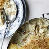 Potato, anchovy and rosemary gratin