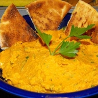 Pumpkin Hummus and Pita Chips