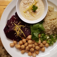 Quinoa Beet Salad with Miso-Tahini Dressing