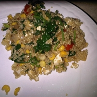 Quinoa with Red Pepper, Charred Corn and Spinach