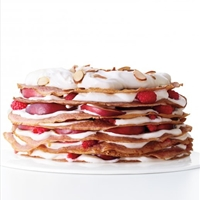 Raspberry Crepe Cake with Nectarines and Cream