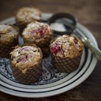 Raspberry Dark Chocolate, Oat & Coconut Muffins