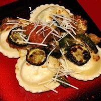 Ravioli with Roasted Zucchini, Tomatoes and Garlic