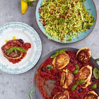Ricotta Fritters with Tomato Sauce & Courgette Dalad