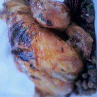 Roast Cinnamon Squab Chicken With Lentils