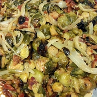 Roasted Brussels Sprouts and Fennel in Apple Cream Sauce