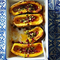 Roasted Delicata Squash with Honey, Pomegranate Seeds, and Pepitas