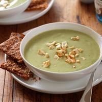 Roasted Garlic Avocado Soup with Herbed Yogurt Crackers