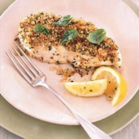 Roasted Halibut with Walnut Crust