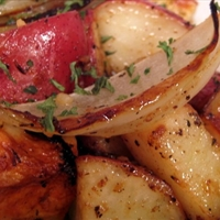 Roasted Onions and Potatoes with Dressing