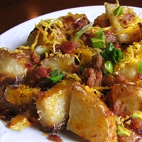 Roasted Ranch Potatoes with Bacon and Cheddar Cheese