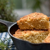 Rosemary Cornbread in a skillet